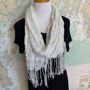 Payless White Fringe with Silver Highlights Scarf